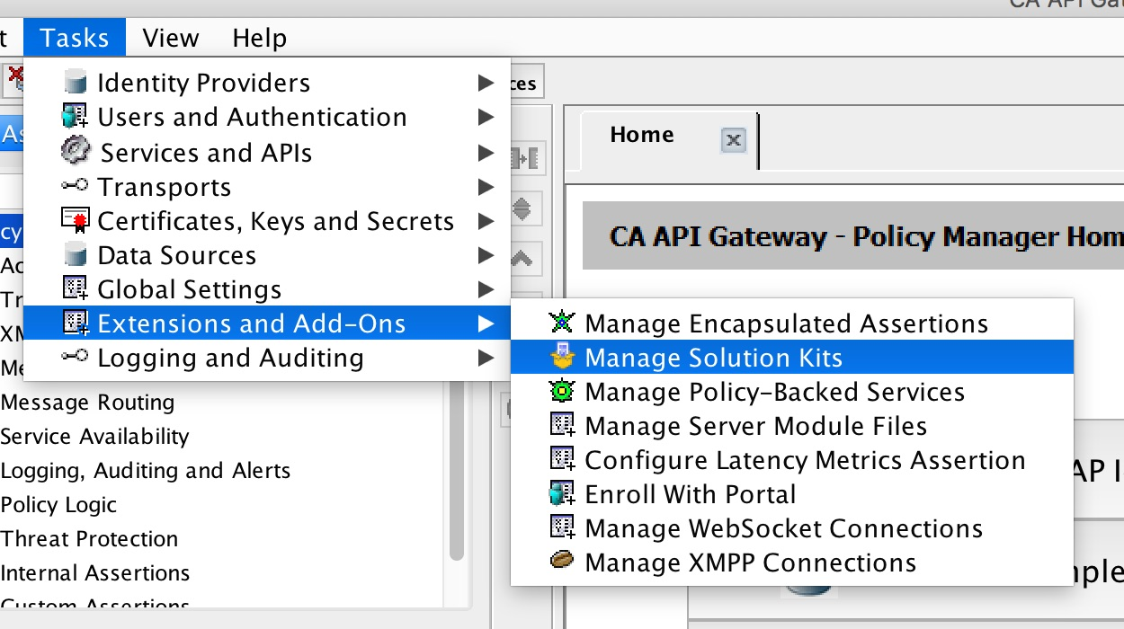 CA API Gateway showing the Policy Manager navigation menu