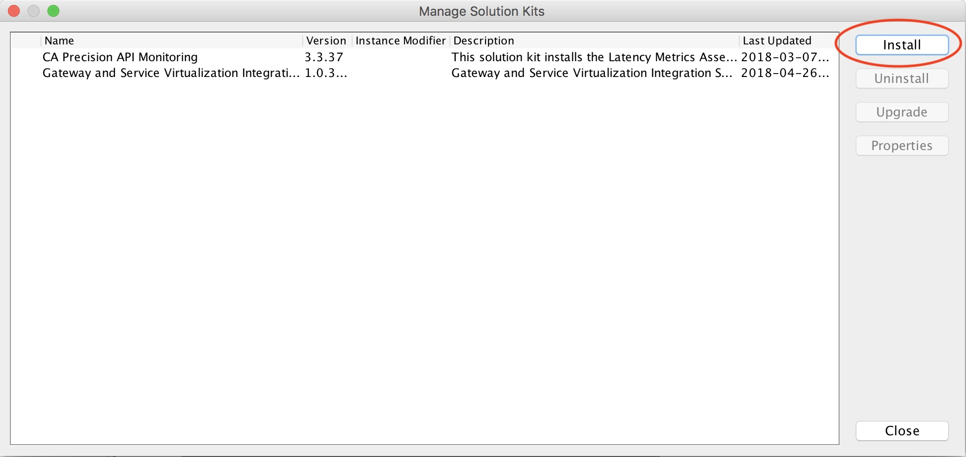 CA API Gateway showing the Manage Solution Kit dialog option