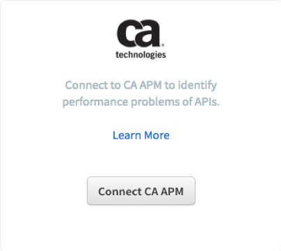 Runscope connected services page, highlighting the CA APM integration and the button Connect CA APM