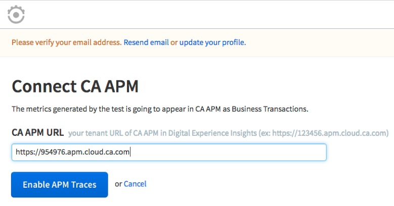 Runscope CA APM Integration page, showing the textbox where the user has to add their CA APM instance URL from the previous steps