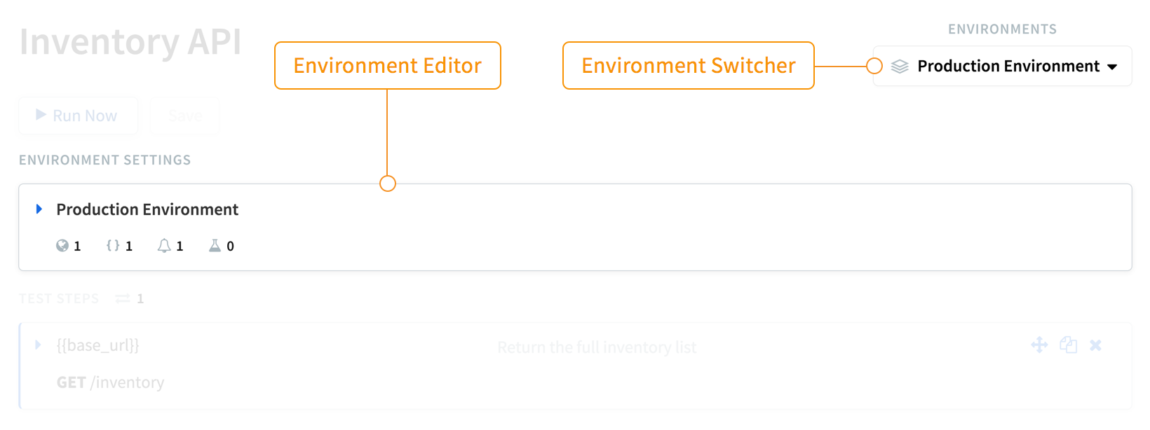 The user interface for switching and editing environments.