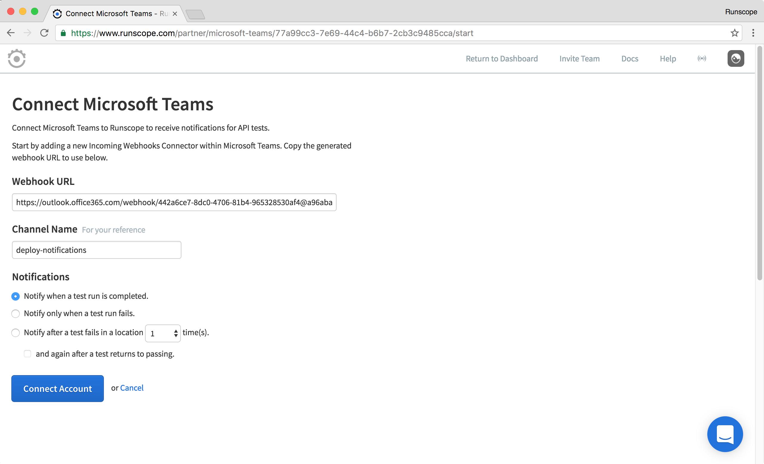 Integrating Runscope with Microsoft Teams · Docs · Runscope API