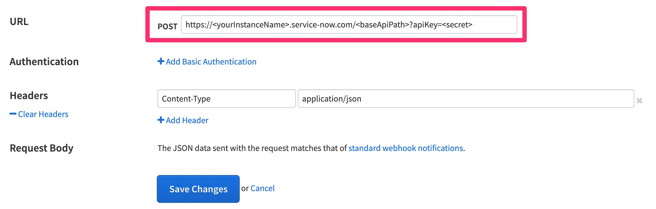 The Runscope logged in page for setting up a new Advanced Webhooks integration, highlighting the URL field with the URL for our ServiceNow REST API created in the previous steps