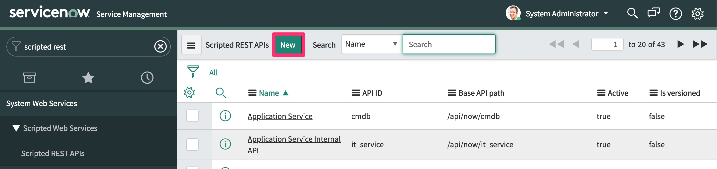 The SerivceNow Scripted REST APIs page, highlighting the New button at the top