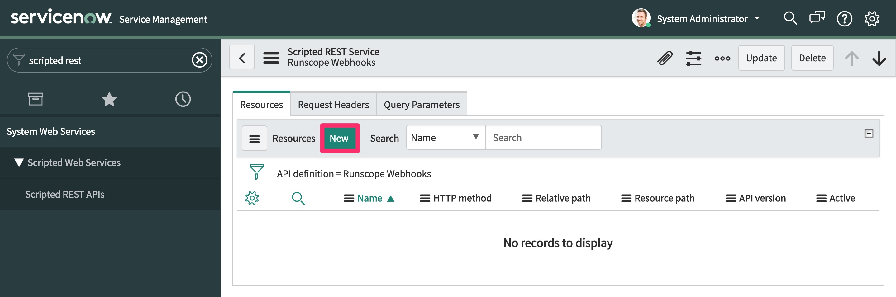 The ServiceNow Scripted REST API details view for our newly created API, highlighting the Resources tab at the bottom of the page and the New button