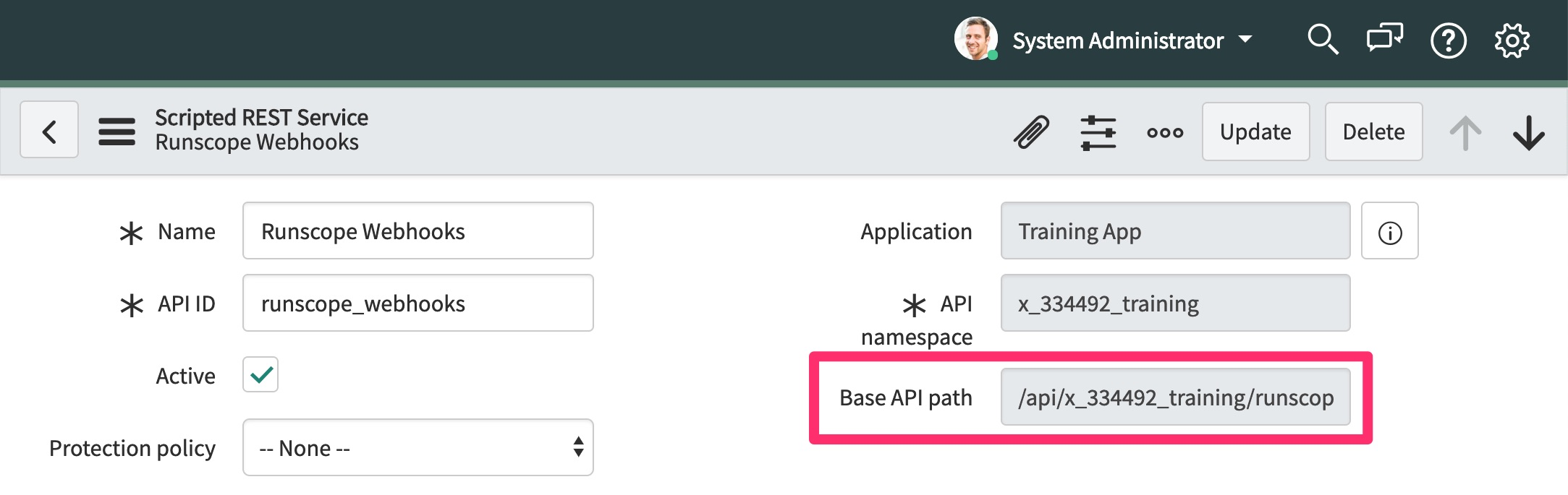 The ServiceNow REST API details page for our newly created API, highlighting the Base API Path field that needs to be copied for the next steps
