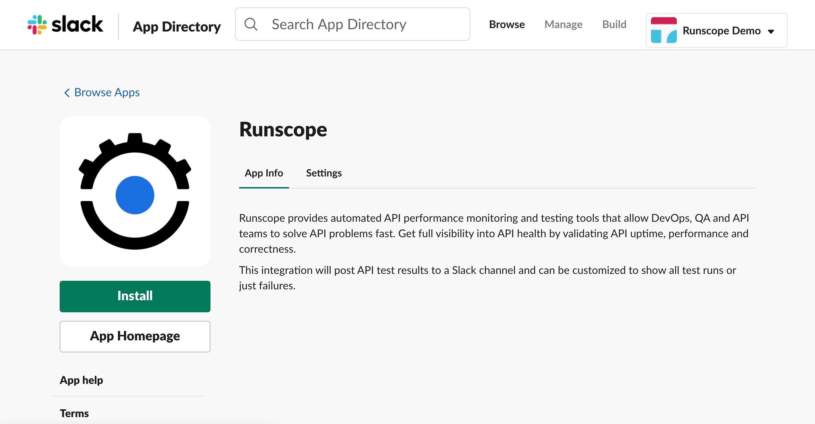Slack App Directory website showing the Runscope app info page.
