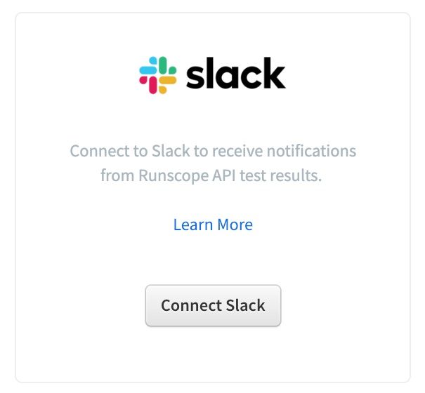 Runscope Connected Services list showing the Slack option.